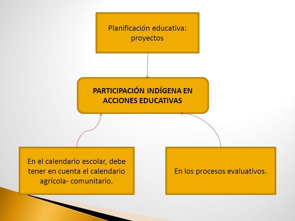 PARTICIPACIÓN INDÍGENA EN ACCIONES EDUCATIVAS Planificación educativa: proyectos En los procesos evaluativos. En el calendario escolar, debe tener en