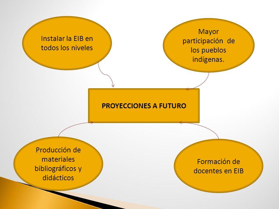 PROYECCIONES A FUTURO Instalar la EIB en todos los niveles Producción de materiales bibliográficos y didácticos Formación de docentes en EIB Mayor par