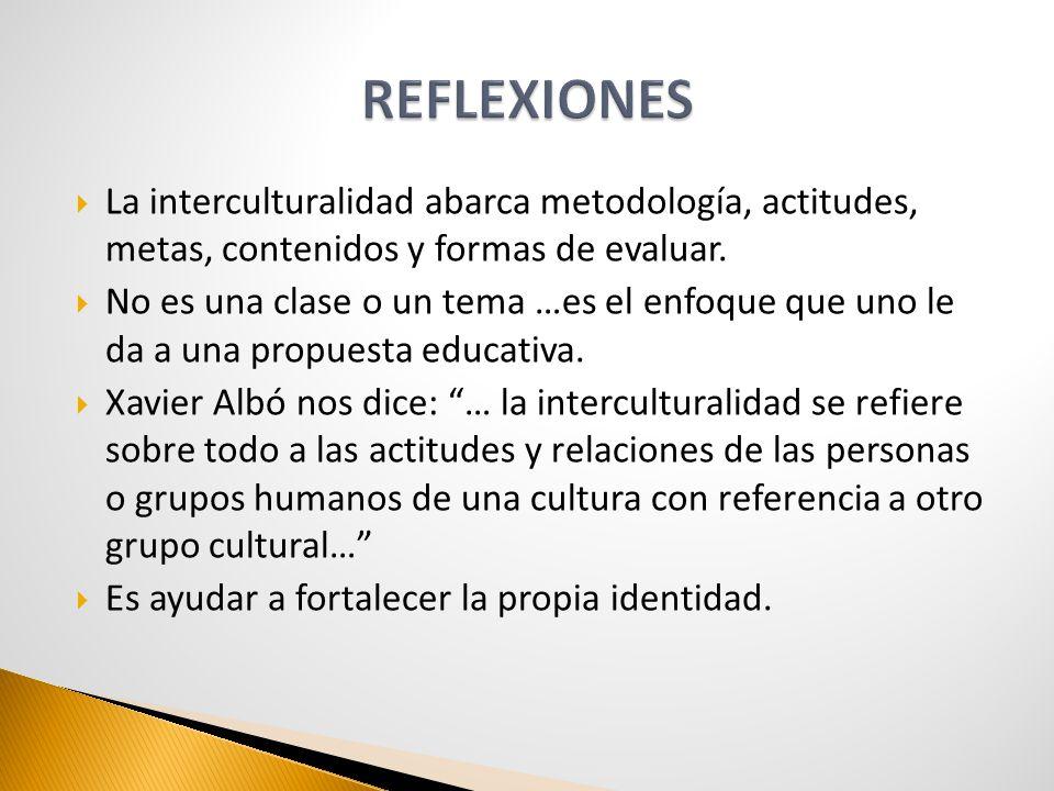 La interculturalidad abarca metodología, actitudes, metas, contenidos y formas de evaluar. No es una clase o un tema …es el enfoque que uno le da a un