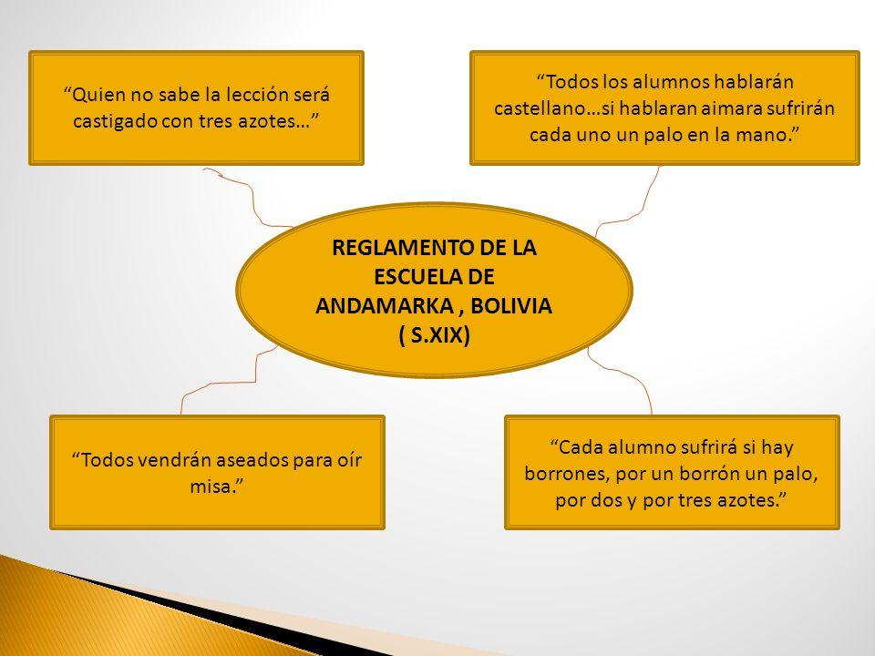 REGLAMENTO DE LA ESCUELA DE ANDAMARKA, BOLIVIA ( S.XIX) Quien no sabe la lección será castigado con tres azotes… Todos vendrán aseados para oír misa.