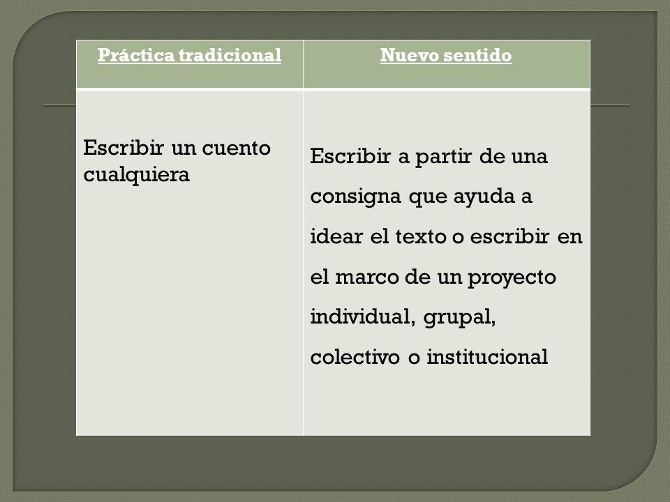 Práctica tradicionalNuevo sentido Escribir un cuento cualquiera Escribir a partir de una consigna que ayuda a idear el texto o escribir en el marco de