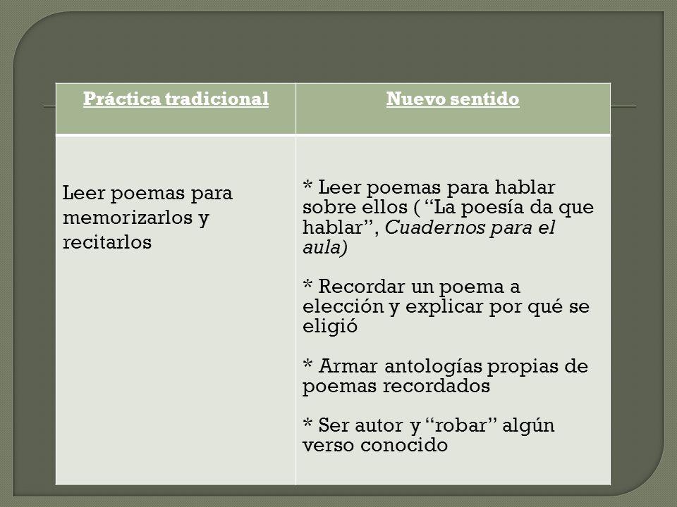 Práctica tradicionalNuevo sentido Leer poemas para memorizarlos y recitarlos * Leer poemas para hablar sobre ellos ( La poesía da que hablar, Cuaderno