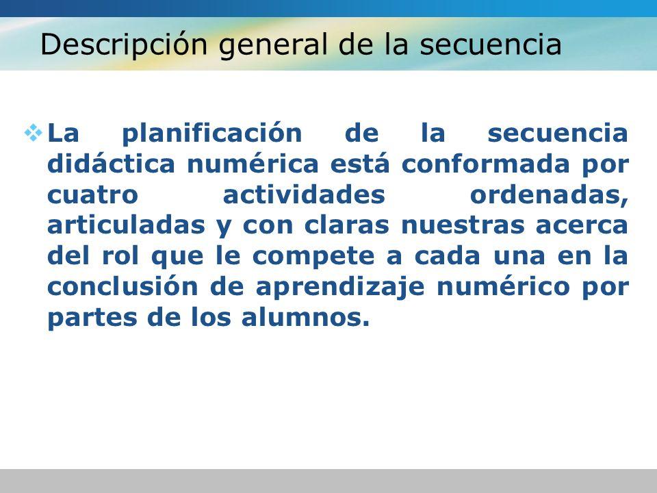 Descripción general de la secuencia La planificación de la secuencia didáctica numérica está conformada por cuatro actividades ordenadas, articuladas