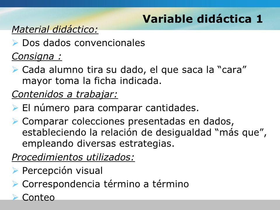 Variable didáctica 1 Material didáctico: Dos dados convencionales Consigna : Cada alumno tira su dado, el que saca la cara mayor toma la ficha indicad