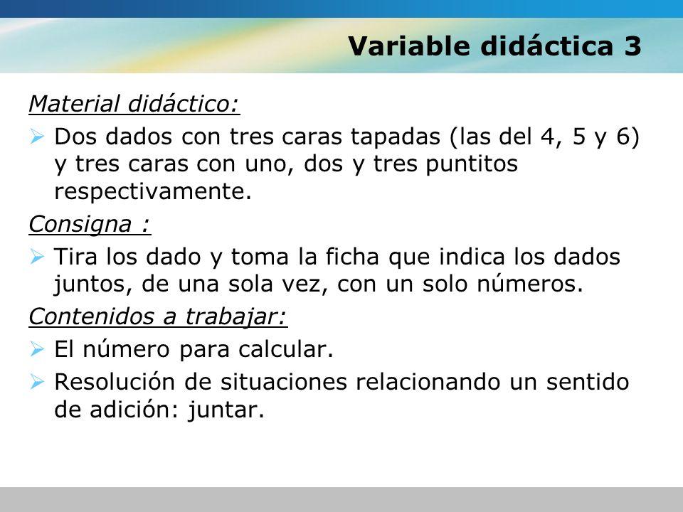 Variable didáctica 3 Material didáctico: Dos dados con tres caras tapadas (las del 4, 5 y 6) y tres caras con uno, dos y tres puntitos respectivamente