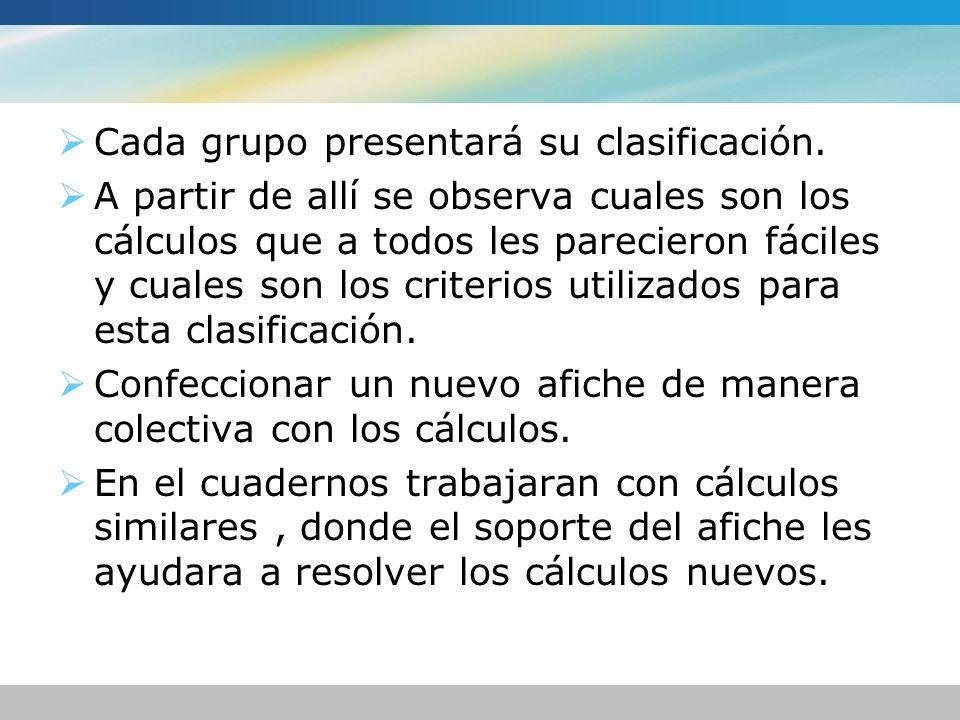 Cada grupo presentará su clasificación. A partir de allí se observa cuales son los cálculos que a todos les parecieron fáciles y cuales son los criter