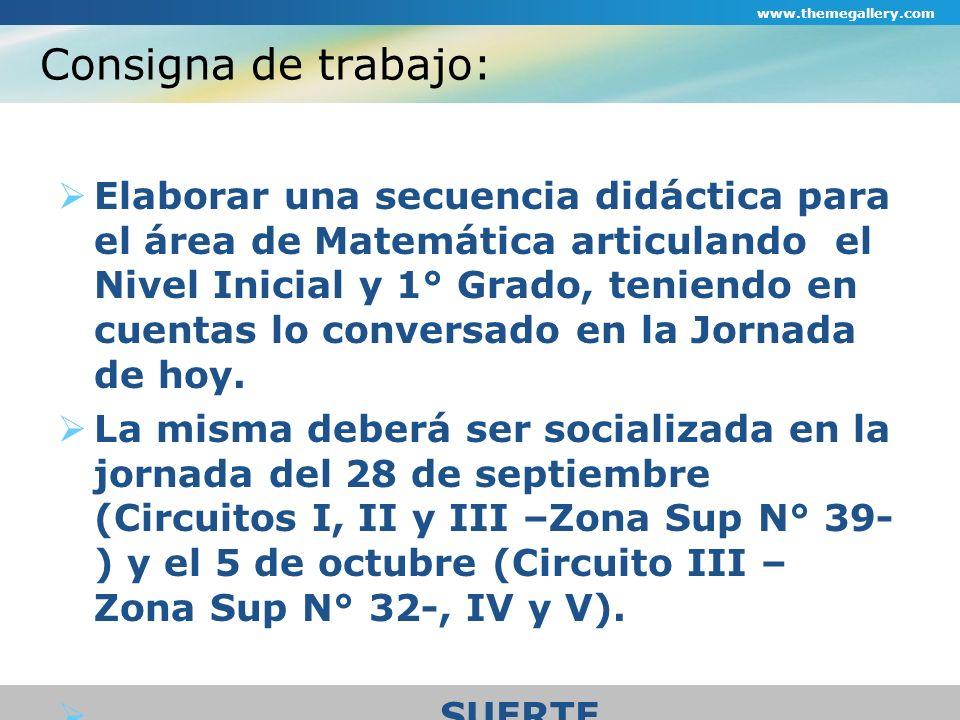 Consigna de trabajo: Elaborar una secuencia didáctica para el área de Matemática articulando el Nivel Inicial y 1° Grado, teniendo en cuentas lo conve