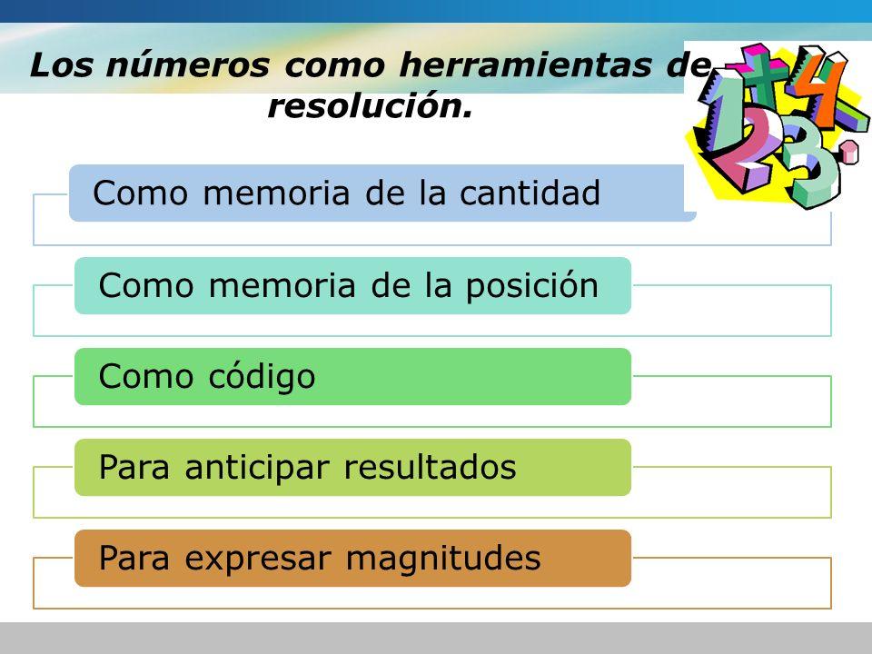 Como memoria de la cantidadComo memoria de la posiciónComo códigoPara anticipar resultadosPara expresar magnitudes Los números como herramientas de re