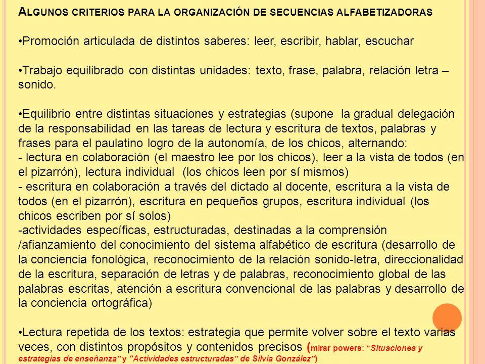 A LGUNOS CRITERIOS PARA LA ORGANIZACIÓN DE SECUENCIAS ALFABETIZADORAS Promoción articulada de distintos saberes: leer, escribir, hablar, escuchar Trab