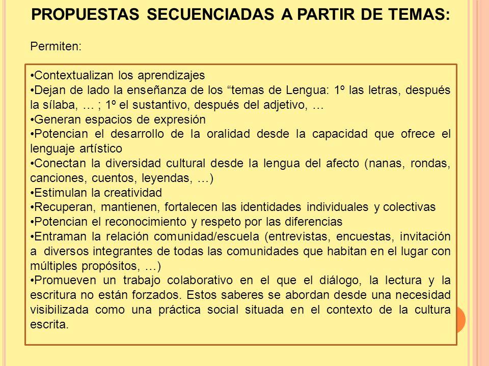 PROPUESTAS SECUENCIADAS A PARTIR DE TEMAS: Permiten: Contextualizan los aprendizajes Dejan de lado la enseñanza de los temas de Lengua: 1º las letras,