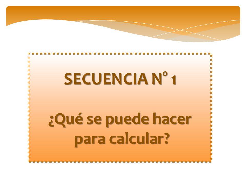 SECUENCIA N° 1 ¿Qué se puede hacer para calcular? para calcular?