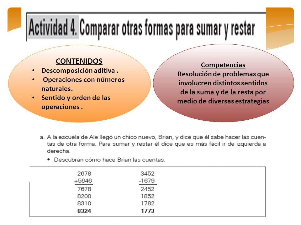 CONTENIDOS Descomposición aditiva. Operaciones con números naturales. Sentido y orden de las operaciones. Competencias Resolución de problemas que inv