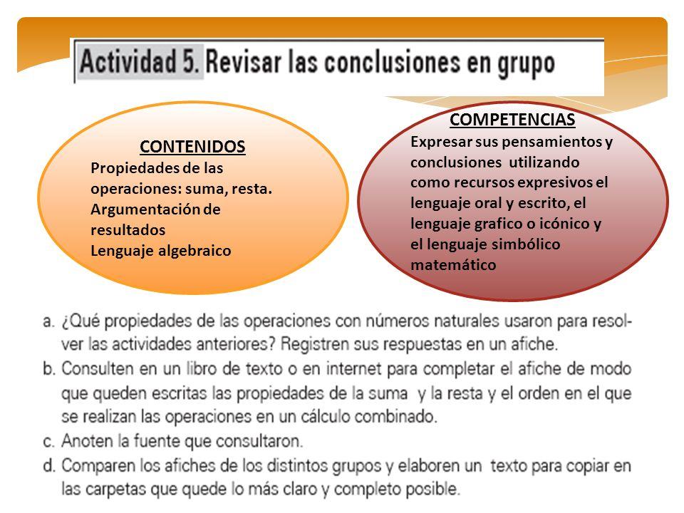 CONTENIDOS Propiedades de las operaciones: suma, resta. Argumentación de resultados Lenguaje algebraico COMPETENCIAS Expresar sus pensamientos y concl