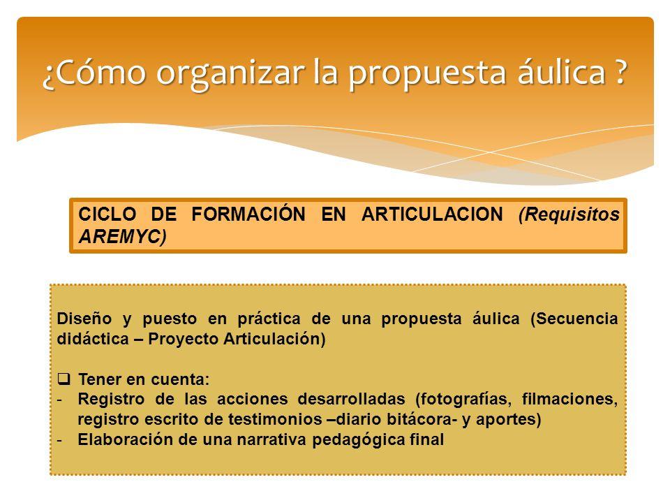¿Cómo organizar la propuesta áulica ? Diseño y puesto en práctica de una propuesta áulica (Secuencia didáctica – Proyecto Articulación) Tener en cuent