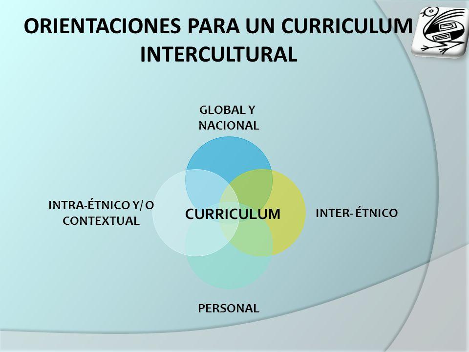 ORIENTACIONES PARA UN CURRICULUM INTERCULTURAL GLOBAL Y NACIONAL INTER- ÉTNICO PERSONAL INTRA- ÉTNICO Y/ O CONTEXTUAL CURRICULUM