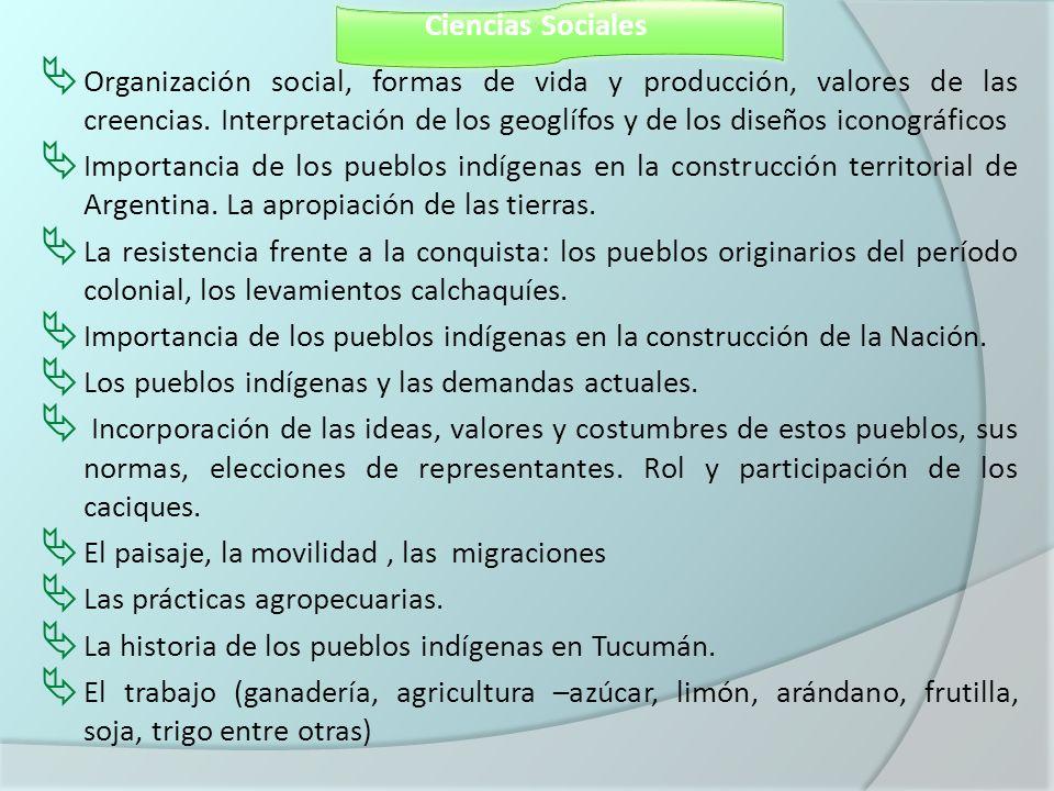 Ciencias Sociales Organización social, formas de vida y producción, valores de las creencias. Interpretación de los geoglífos y de los diseños iconogr