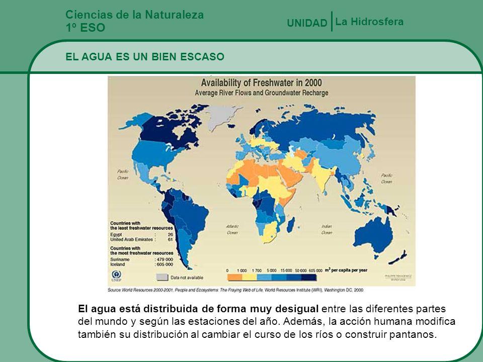 Ciencias de la Naturaleza 1º ESO EL AGUA Y LAS ACTIVIDADES HUMANAS La Hidrosfera UNIDAD El ser humano es un gran consumidor de agua, y nos referimos a