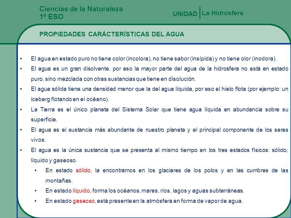 Fernando Gómez Antón Ciencias de la Naturaleza 1º ESO PROPIEDADES QUÍMICAS DEL AGUA MARINA La Hidrosfera UNIDAD LA SALINIDAD GLOBAL ES DE 3,5%