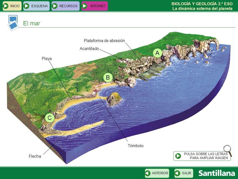 BIOLOGÍA Y GEOLOGÍA 2.º ESO La dinámica externa del planeta INICIOESQUEMARECURSOSINTERNET El mar SALIRANTERIOR PULSA SOBRE LAS LETRAS PARA AMPLIAR IMA