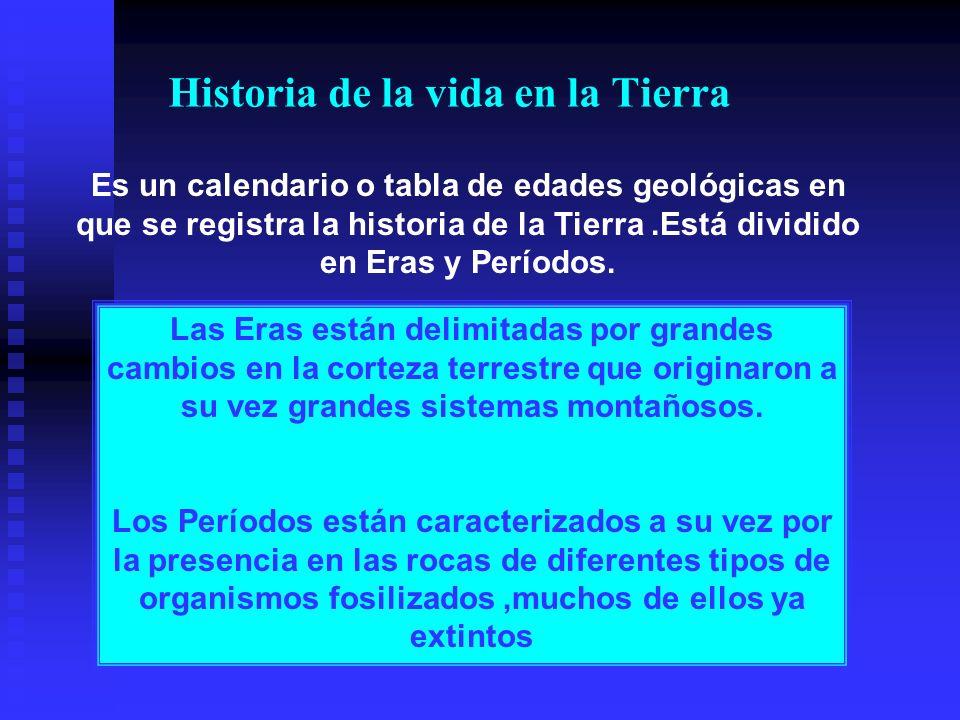 Historia de la vida en la Tierra Es un calendario o tabla de edades geológicas en que se registra la historia de la Tierra.Está dividido en Eras y Per