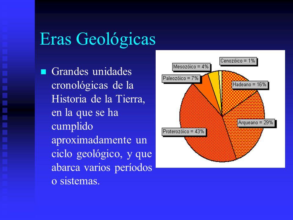 Eras Geológicas Grandes unidades cronológicas de la Historia de la Tierra, en la que se ha cumplido aproximadamente un ciclo geológico, y que abarca v