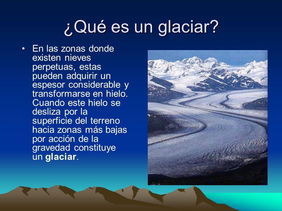 ¿Qué es un glaciar? En las zonas donde existen nieves perpetuas, estas pueden adquirir un espesor considerable y transformarse en hielo. Cuando este h