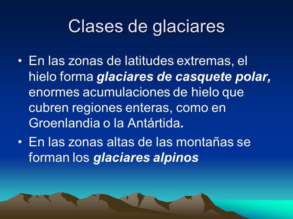 Clases de glaciares En las zonas de latitudes extremas, el hielo forma glaciares de casquete polar, enormes acumulaciones de hielo que cubren regiones