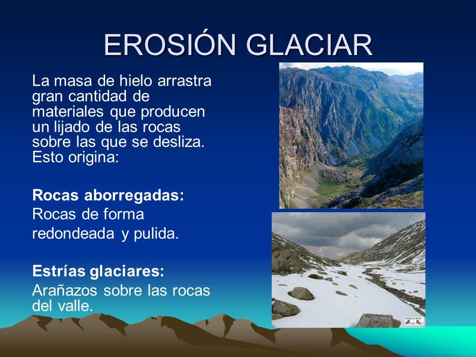 EROSIÓN GLACIAR La masa de hielo arrastra gran cantidad de materiales que producen un lijado de las rocas sobre las que se desliza. Esto origina: Roca
