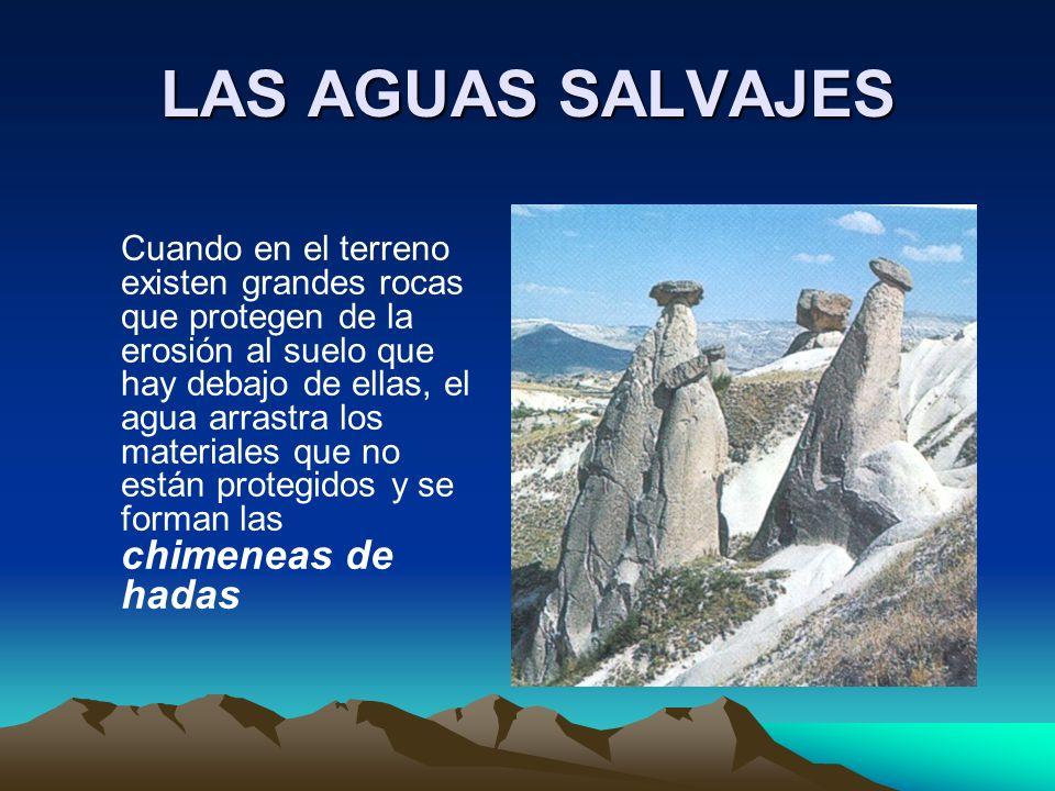 LAS AGUAS SALVAJES Cuando en el terreno existen grandes rocas que protegen de la erosión al suelo que hay debajo de ellas, el agua arrastra los materi