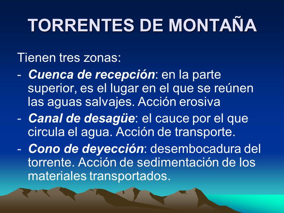 TORRENTES DE MONTAÑA Tienen tres zonas: -Cuenca de recepción: en la parte superior, es el lugar en el que se reúnen las aguas salvajes. Acción erosiva