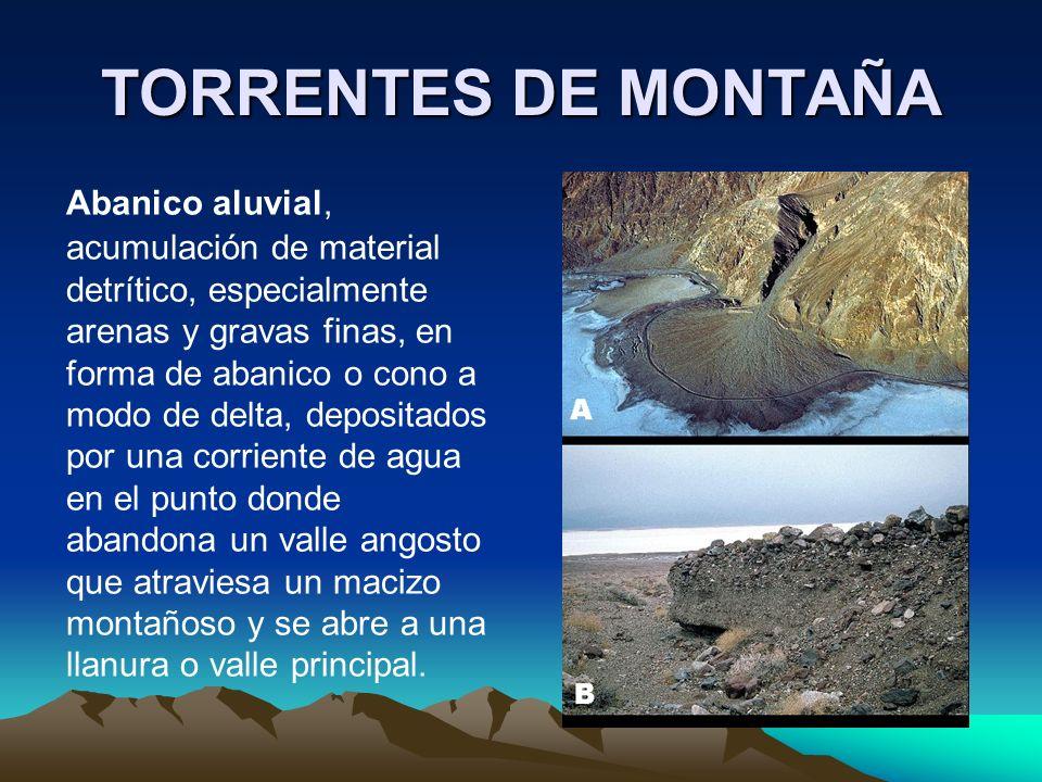 Abanico aluvial, acumulación de material detrítico, especialmente arenas y gravas finas, en forma de abanico o cono a modo de delta, depositados por u