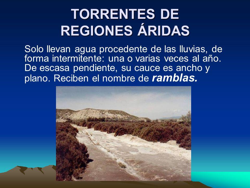TORRENTES DE REGIONES ÁRIDAS Solo llevan agua procedente de las lluvias, de forma intermitente: una o varias veces al año. De escasa pendiente, su cau