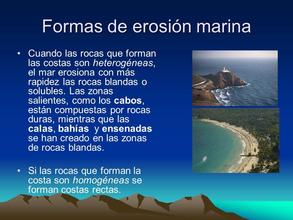 Formas de erosión marina Cuando las rocas que forman las costas son heterogéneas, el mar erosiona con más rapidez las rocas blandas o solubles. Las zo