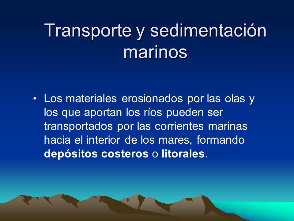 Transporte y sedimentación marinos Los materiales erosionados por las olas y los que aportan los ríos pueden ser transportados por las corrientes mari