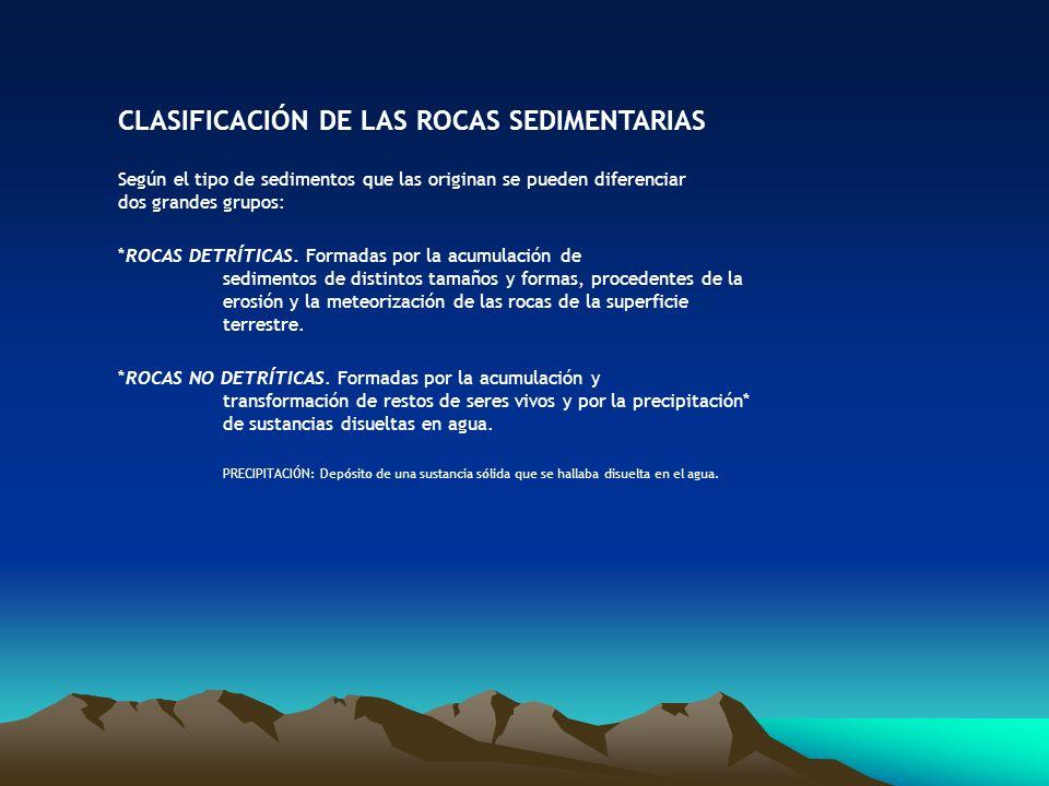 CLASIFICACIÓN DE LAS ROCAS SEDIMENTARIAS Según el tipo de sedimentos que las originan se pueden diferenciar dos grandes grupos: * ROCAS DETRÍTICAS. Fo