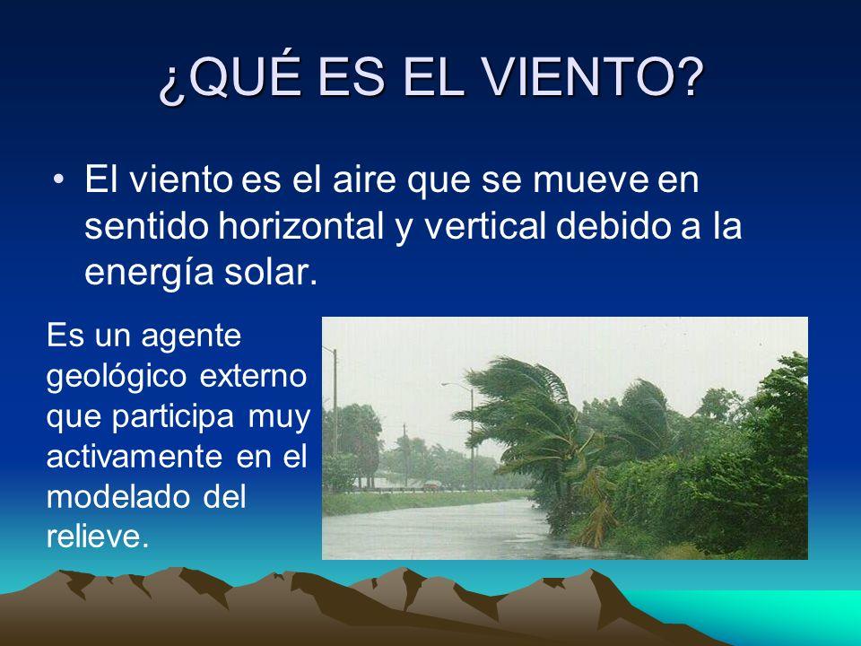 ¿QUÉ ES EL VIENTO? El viento es el aire que se mueve en sentido horizontal y vertical debido a la energía solar. Es un agente geológico externo que pa