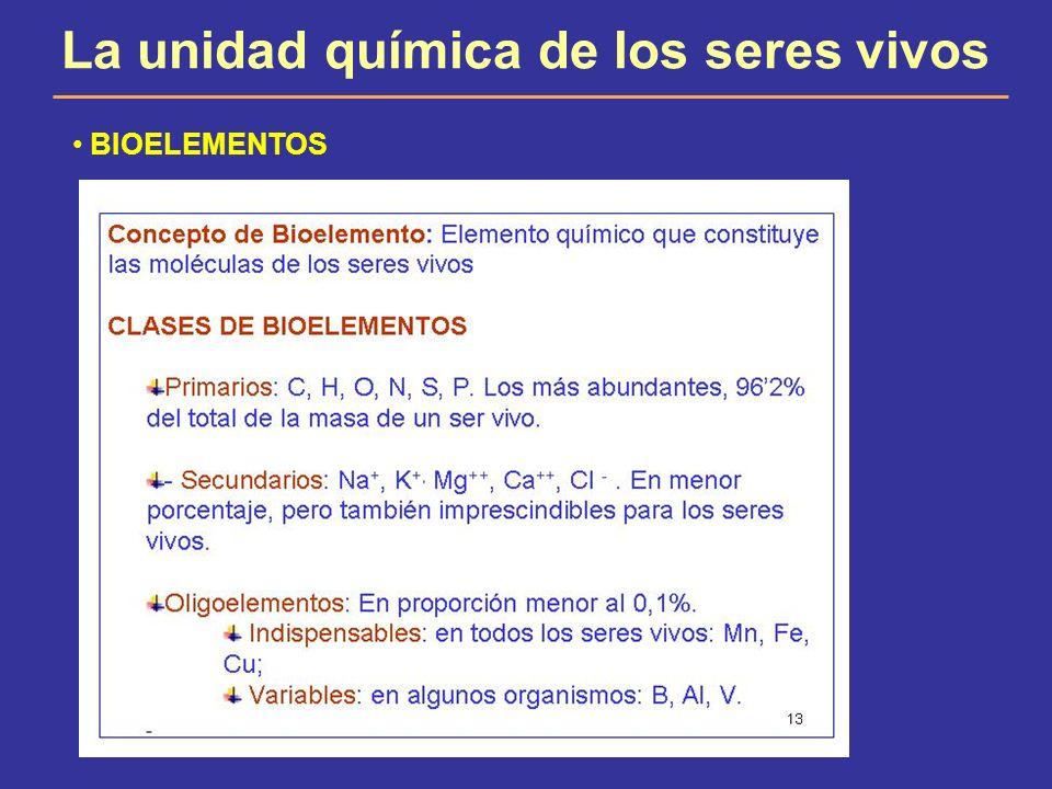 La unidad química de los seres vivos BIOELEMENTOS