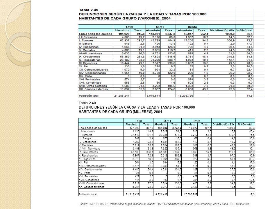 Tabla 2.40 DEFUNCIONES SEGÚN LA CAUSA Y LA EDAD Y TASAS POR 100.000 HABITANTES DE CADA GRUPO (MUJERES), 2004 Total65 y +Resto AbsolutoTasaAbsolutoTasa