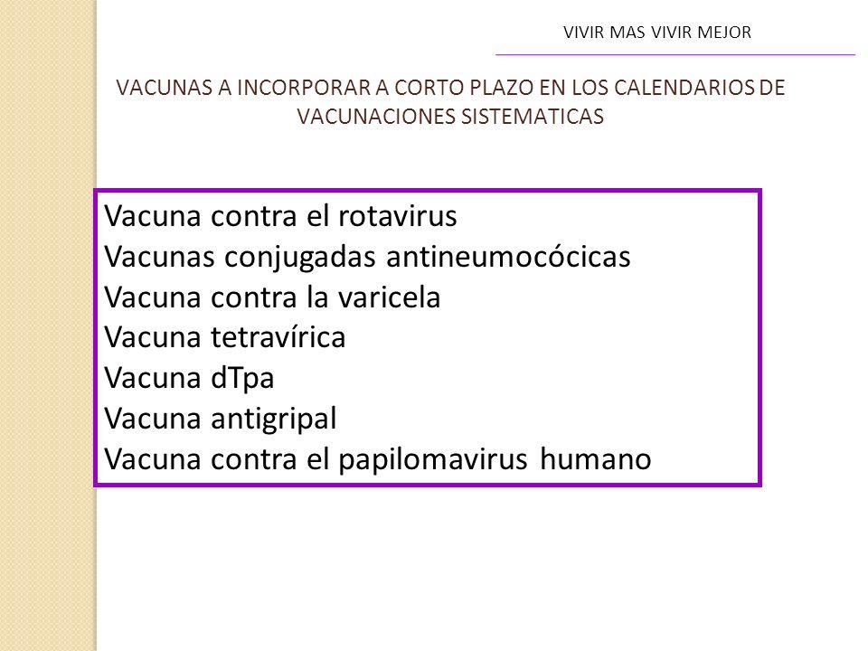 VIVIR MAS VIVIR MEJOR Vacuna contra el rotavirus Vacunas conjugadas antineumocócicas Vacuna contra la varicela Vacuna tetravírica Vacuna dTpa Vacuna a