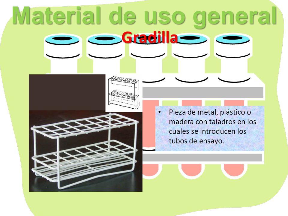 Material de uso general Soporte Aro metálico Soporte: Suele ser de metal, constituido por una larga varilla enroscada en una base.