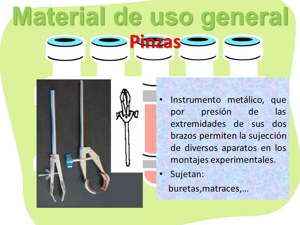 Material de uso general Varillas de vidrio Espátulas y cucharillas Varillas: Se utilizan para agitar las disoluciones Espátulas: Se utilizan para coger de los frascos las cantidades que necesitamos de los productos.