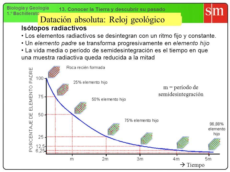 Datación absoluta: Reloj geológico Isótopos radiactivos Los elementos radiactivos se desintegran con un ritmo fijo y constante. Un elemento padre se t