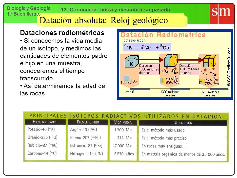 Datación absoluta: Reloj geológico Dataciones radiométricas Si conocemos la vida media de un isótopo, y medimos las cantidades de elementos padre e hi