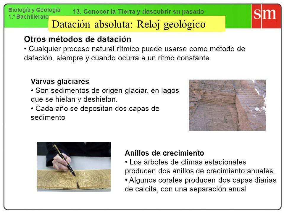 Datación absoluta: Reloj geológico Otros métodos de datación Cualquier proceso natural rítmico puede usarse como método de datación, siempre y cuando
