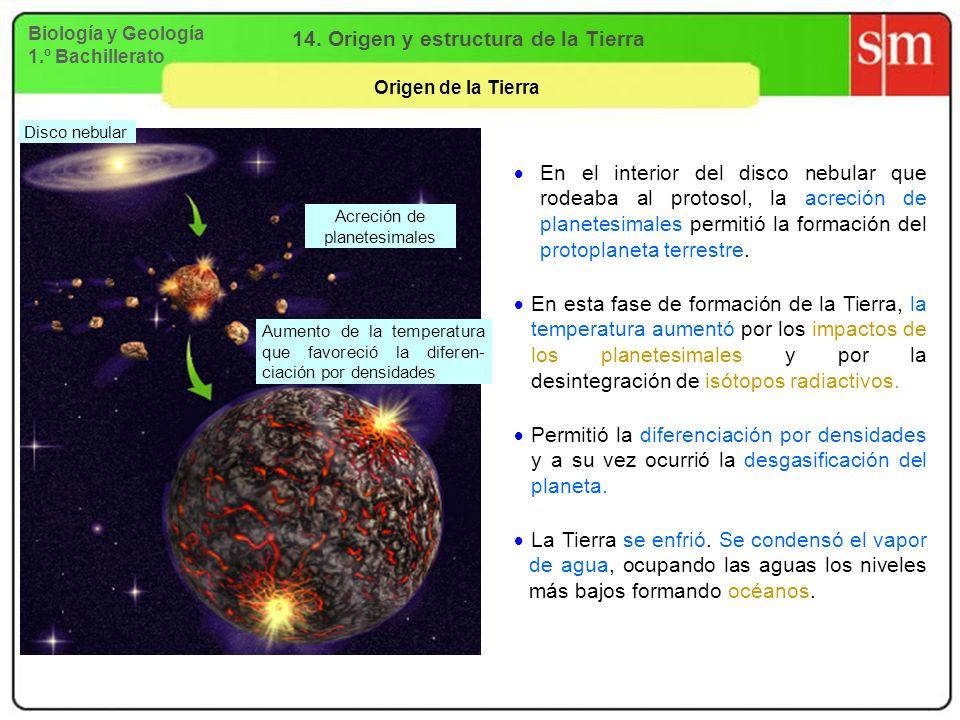 Biología y Geología 1.º Bachillerato 14. Origen y estructura de la Tierra Origen de la Tierra En el interior del disco nebular que rodeaba al protosol