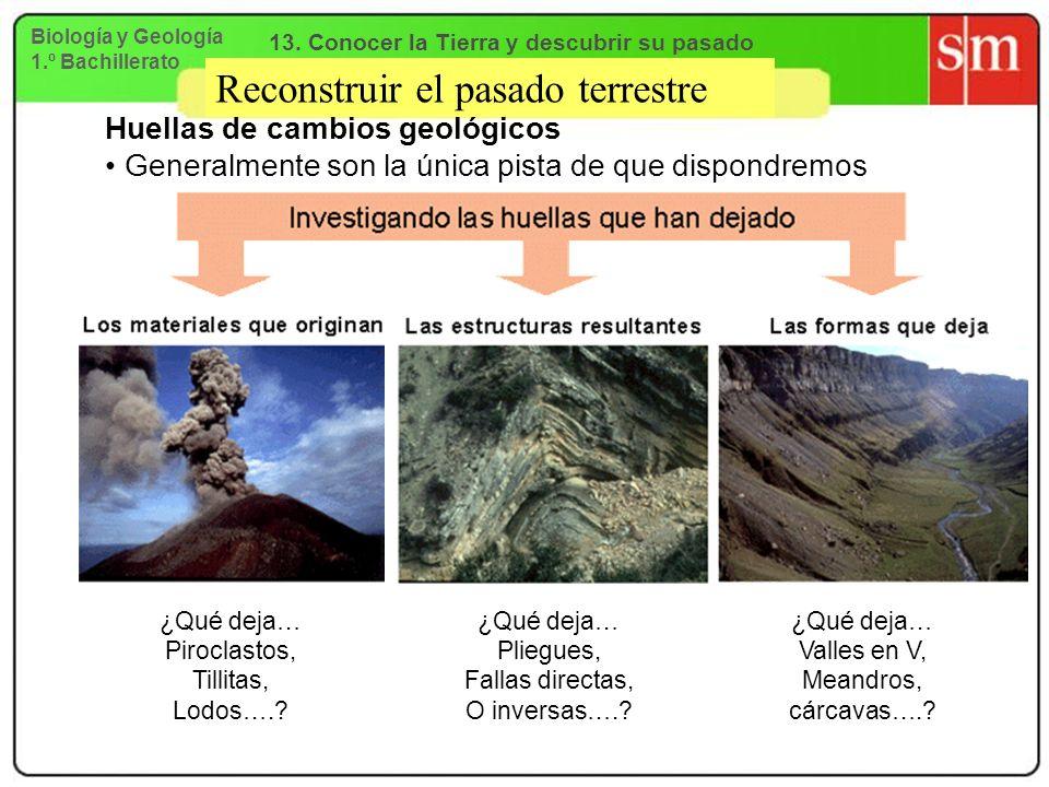 Reconstruir el pasado terrestre Huellas de cambios geológicos Generalmente son la única pista de que dispondremos ¿Qué deja… Piroclastos, Tillitas, Lo
