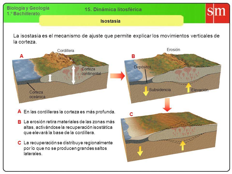 Biología y Geología 1.º Bachillerato 15. Dinámica litosférica Isostasia C B La isostasia es el mecanismo de ajuste que permite explicar los movimiento