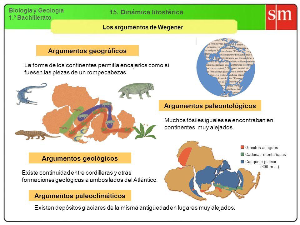 Biología y Geología 1.º Bachillerato 15. Dinámica litosférica Los argumentos de Wegener Argumentos geográficos Argumentos paleoclimáticos Argumentos g