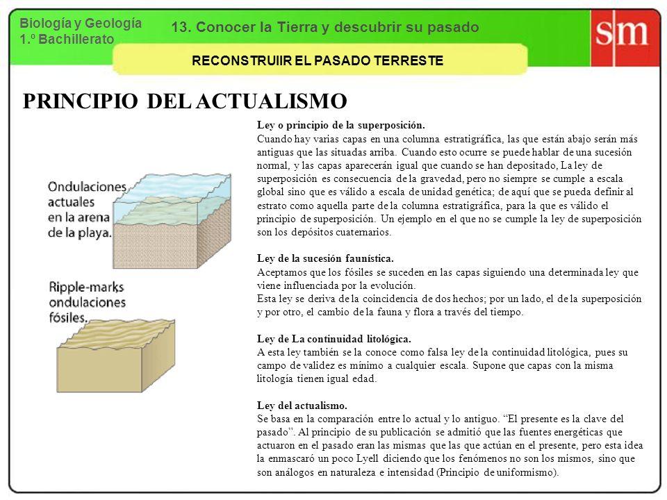 Biología y Geología 1.º Bachillerato 13. Conocer la Tierra y descubrir su pasado RECONSTRUIIR EL PASADO TERRESTE PRINCIPIO DEL ACTUALISMO Ley o princi