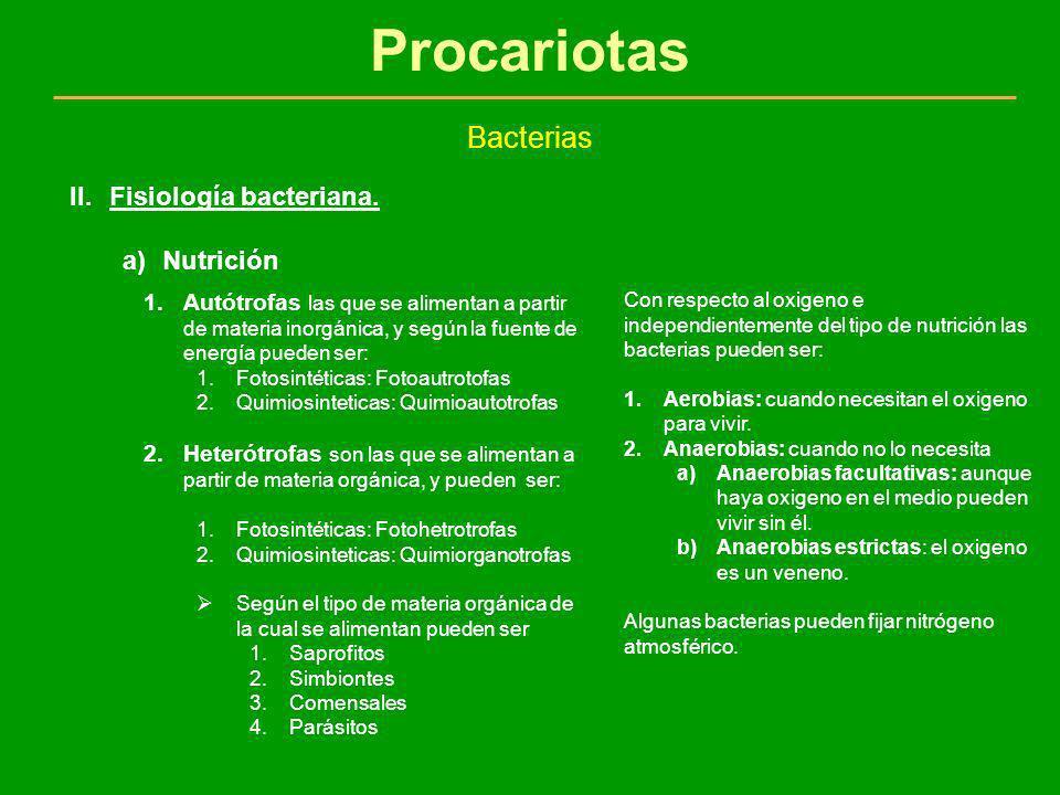 Procariotas Bacterias II.Fisiología bacteriana. a)Nutrición 1.Autótrofas las que se alimentan a partir de materia inorgánica, y según la fuente de ene